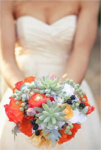 Sukulenty v svadobnej kytici